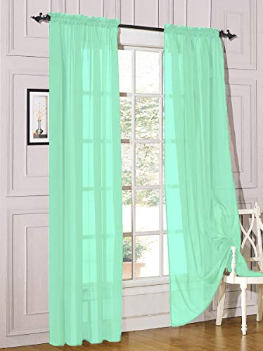 """Decotex 2 Piece Sheer Voile Light Filtering Rod Pocket Window Curtain Panel Drape Set Available in a Variety of Sizes and Colors (54"""" X 84"""", Mint)"""