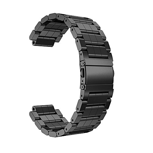 MYQyiyi myqyiyi Edelstahl-Armband Smartwatch für Garmin vivoactive (schwarz)