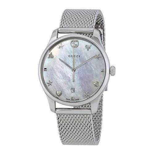Gucci Unisex Datum klassisch Quarz Uhr mit Edelstahl Armband YA1264040