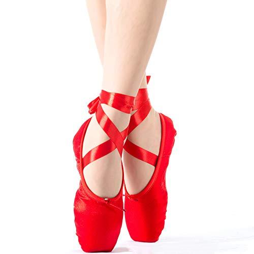 YXCM Ballettschuhe Kinder und Erwachsene Ballett Spitzen Tanzschuhe Damen Leder High Help professionelle Ballett Tanzschuhe mit Bändern Schuhe,Rot,38