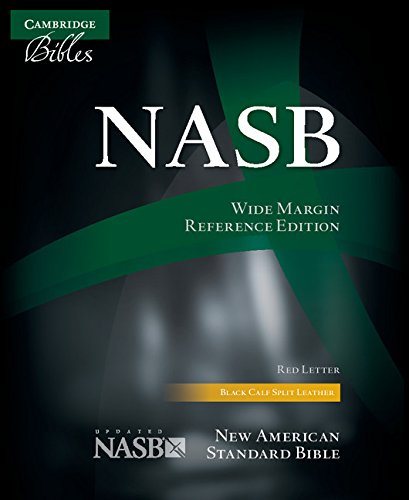 NASB Wide Margin Reference Bible, black calfsplit leather, red letter text: NS744:XRM (Double Column)