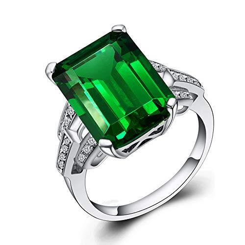 Smaragd Form Simulierte Smaragd Form Erstellt Sapphire Cocktail Ring 925 Sterling Silber,Grün,6