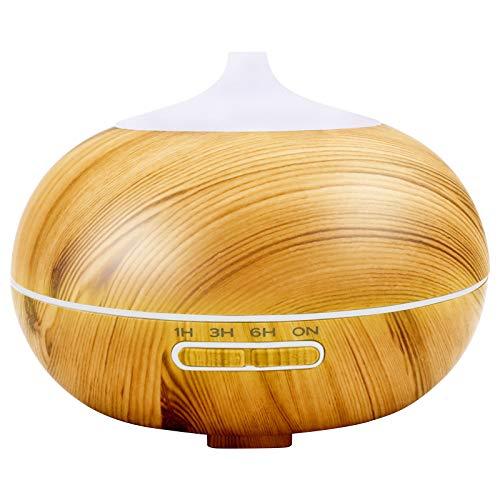 Humidificador ultrasónico de 400 ml, difusor de aroma para aceites esenciales, 7 colores LED con vetas de madera, humidificador de niebla para casa, apagado automático, humidificador para dormitorio
