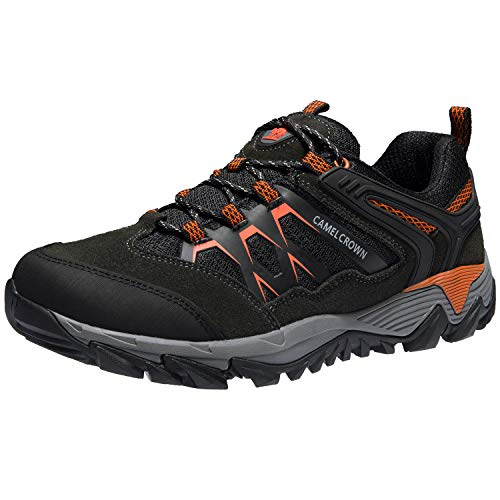 CAMEL CROWN Hiking Shoes Men Breathable Non-Slip Sneakers Lightweight Low Top for Outdoor Trailing Trekking Walking Dark Gray