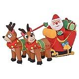 LOVOICE Decoración de Navidad inflable con Papá Noel sobre trineo de reno, con luces LED, renos al aire libre, vacaciones