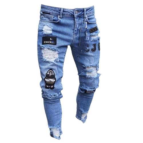 N\P Men's Ripped Embroidery Pencil Jeans Slim-fit Men's Trousers Thin Jeans
