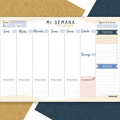 PACKLIST Planificador Semanal. Organizador Semanal A4, Planning Escritorio - Weekly Planner Semanal, Regalo Original Mi Semana Más Organizada. Agendas, Planificadores y Calendarios Semanales de Diseño