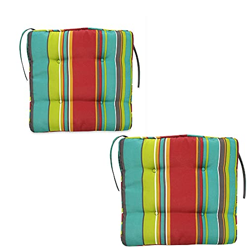 2 Pcs Striped Ethnic Style Waterproof Office Chair Cushion,Chair Seat Cushions with Ties,Square Cushions for Garden...