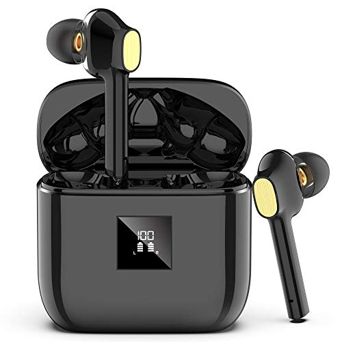 Bluetooth Kopfhörer, In Ear Kabellos Kopfhörer mit Premium Klangprofil, Bluetooth 5.0 Headsets mit Mikrofon und Tragbare Ladehülle, IP7 Wasserschutzklasse, Noise Cancelling Ohrhörer für Android/IOS