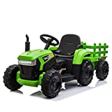 TOBBI 12v Battery-Powered Toy Tractor with Trailer,3-Gear-Shift Ground Loader Ride On with LED Lights and USB&Bluetooth Audio Functions in Green