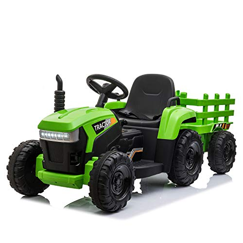 TOBBI 12v Battery-Powered Toy Tractor with Trailer and 35W Dual Motors,3-Gear-Shift Ground Loader Ride On with LED Lights and USB&Bluetooth Audio Functions in Green