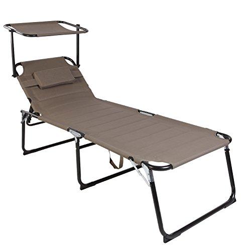 FineHome Klappbare XXL Gartenliege Sonnenliege Relaxliege Liege mit Kissen gepolstert Taupe Aluminium L200xB70xH45/95cm Belastbar bis 150kg