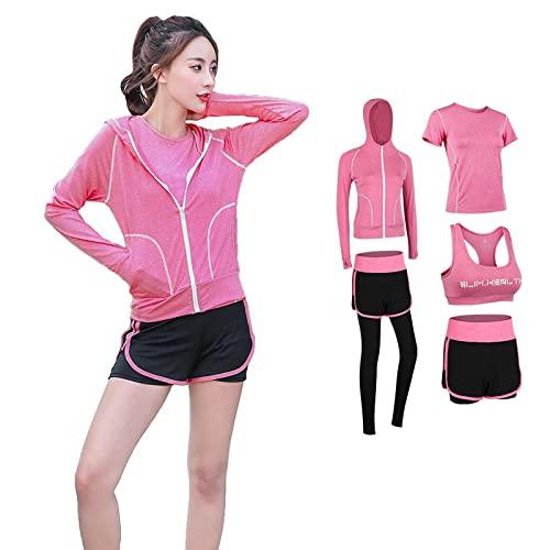 TANQIAN Yoga Sports Suit Women's Gym Running Quick-Drying Suit XXL Pink
