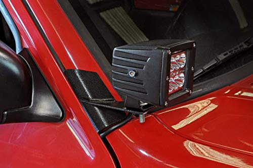 Rough Country Lower Windshield Cube LED Brackets (fits) 1984-2001 Jeep Cherokee XJ | Cubes Not Included | 70525