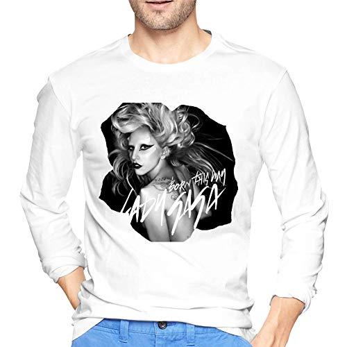 Lady Gaga - Camiseta de manga larga para hombre Negro Negro ( XL