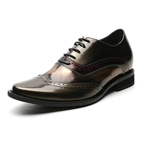 Faretti Elevator Shoes +7 cm Aufzug Anzug Lederschuhe Anzugschuhe Herren Business Leder Schuhe Größer Machen mit Versteckte Absatz Schuheinlagen Schuh Erhöhung Lift Schuhe OTTAVIO I 41