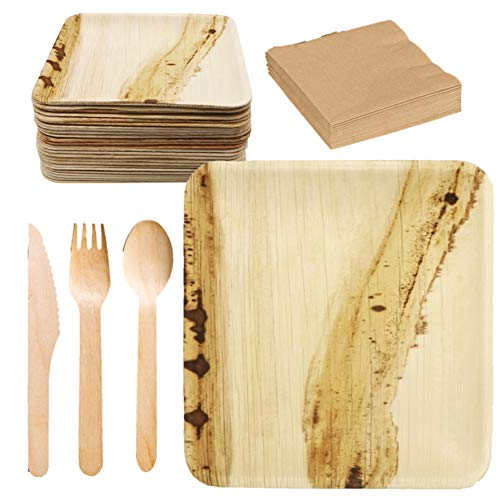 Biodegradable Palm Leaf Plates Set - 8x8 in 125 Count Disposable Plate Biodegradable Compostable Set of 25 Plates 25 Wooden Spoons 25 Forks 25 Knives 25 Napkins Durable Party Set