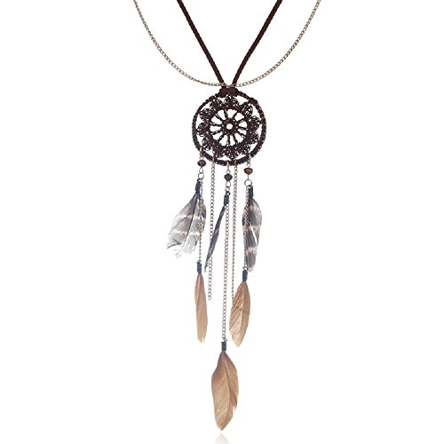JGFinds Native American Inspired Dreamcatcher Feather Necklace, Multilayer 27 inches