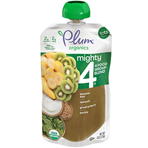 Plum Organics Mighty 4, Organic Toddler Food, Banana, Kiwi, Spinach, Greek Yogurt & Barley, 4 oz Pouch (Pack of 6)