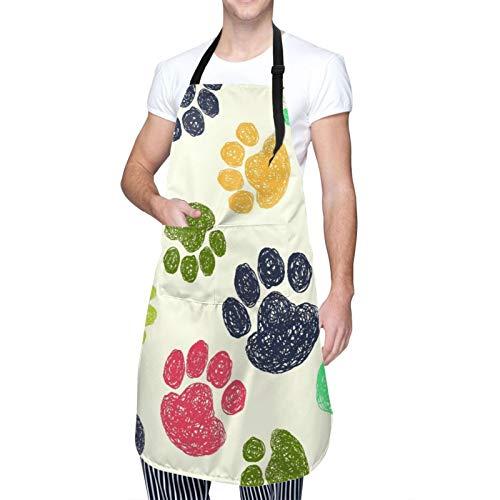 NOLOVVHA Verstellbarer Hals Hängen Personalisierte Wasserdichte Schürze,Niedlich mit bunten handgezeichneten Doodle Paw Prints,Kitchen Latzkleid für Männer Frauen mit 2 Mitteltaschen