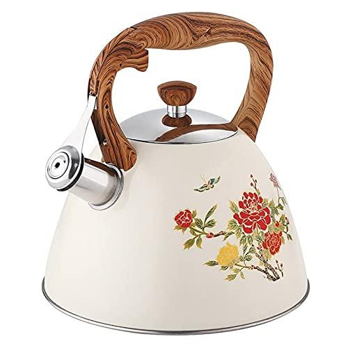 GDYJP 3L Whistling Kettle 304 de Acero Inoxidable Silbato Caldera de té Anti-escaldar Botella de Agua Universal Pote del té para Gas Cocina de inducción (Color : White, Tamaño : 3L)