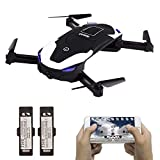 le-idea IDEA8 Selfie Drone with 720P HD Camera WiFi FPV Foldable Pocket Quadcopter 2.4GHz Remote Control Headless Altitude Hold 3D Flips with Two Batteries, Super Easy Fly Best Gifts for Kids