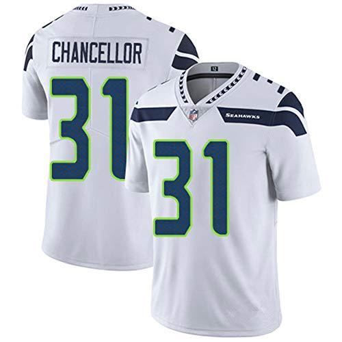 Herren T-Shirt American Football Uniform Seattle Seahawks Chancellor #31 Fußballtrikot Gruby Tee Shirts Gr. XXL, weiß