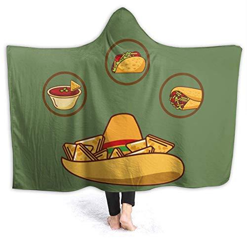 AEMAPE Köstliche Hut Nacho Sauce Taco und Burrito Kapuzendecke Gemütliche tragbare Decken Home Travel Bed Throw Blanket für Kinder