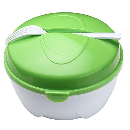 """Salatschüssel \""""To Go\"""" inkl. Gabel und Dressingbehälter Salatschale grün/weiß"""