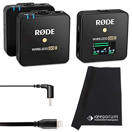 Rode Wireless GO II - Sistema de micrófono inalámbrico (2 canales, cable de conexión SC15 USB-C a Light-ning y paño de microfibra)