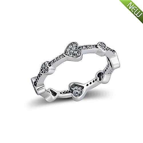 PANDOCCI 2018 Herbst verführerische Herzen Ring für Frauen 925 Silber DIY passt für Original Pandora Armbänder Charme Modeschmuck (54#)