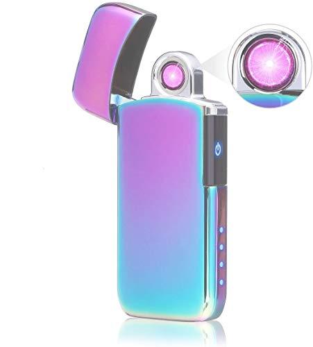 NASUM Lichtbogen Feuerzeug, Drehung Lichtbogen USB-Elektro feuerzeug Aufladbar/Winddicht/Lange Lebensdauer Plasma Feuerzeug Mit Batterieanzeige (Bunt)