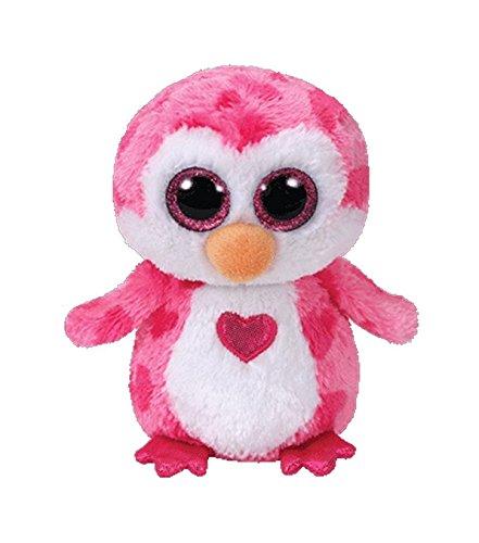 TY 37163 Juliet, Pinguin pink m. Herz 24cm, mit Glitzeraugen, Beanie Boo's, Valentin limitiert, 23 cm