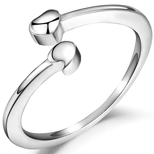 Stainless Steel Semicolon Heart Proimse Inspriational Statement Ring (Silver, 5)