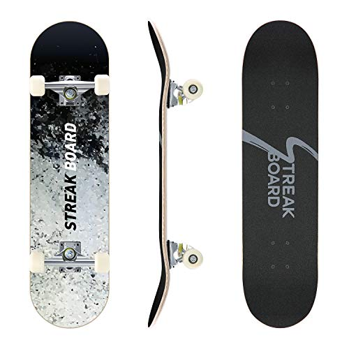 Pro Complete Skateboard 7 Layer Canadian Maple Double Kick Deck Concave Skateboards Longboard Skate Boards for Youths Beginners 31''x 8'' Skateboard