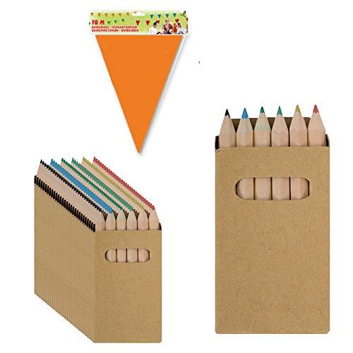 Partituki 50 Buntstifte Set für Kinder. Mit Girlande zum Verzieren von 10mts. EIN Kleine Geschenke für Kinder. Perfekt für Party und Kindergeburstag als Mitgebsel