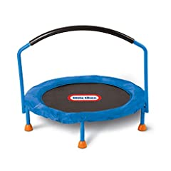 Perfect trampoline for toddlers to burn off energy Features large jumping surface and handle bar for stability Plastic and metal combination Trampoline is for indoor use only. Age- 3 to 6 years. Ground to top of handle bar- 34.00 inch H. Jumping surf...