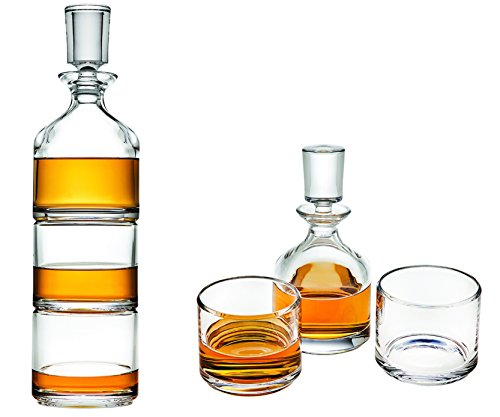 Godinger Stackable Whiskey Decanter and Whisky Glasses 3 pc set, for Liquor Scotch Bourbon or Wine