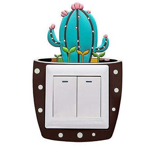 EPRHY 2 Stück Leuchtende Wandlichtschalter Aufkleber Kaktus Pflanze Schalter Umrandung Steckdose Schutzabdeckung Aufkleber Badezimmer Schlafzimmer Kinderzimmer Panel Dekoration DIY