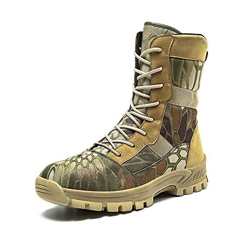 LZQpearl Botas Militares Hombres, Botas Tácticas Combate Caña Alta, Zapatos con Cordones Todo Terreno para Senderismo, Caza, Camping, Todoterreno, Caminar (44 (UK8.5),Camo)