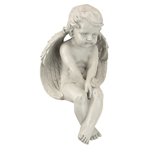 Design Toscano JE101261 Angel of Meditation Shelf Sitting Statue, 13 Inch, Polyresin, Antique Stone