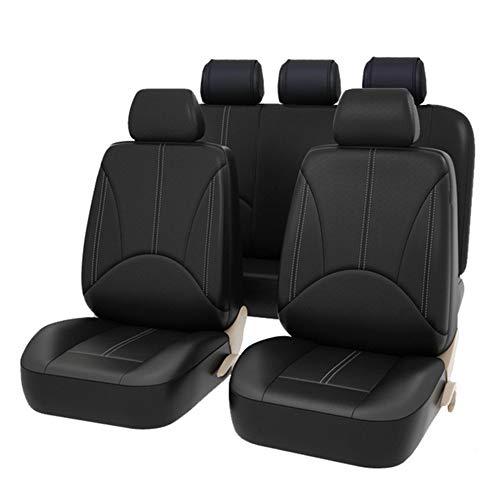 AUTO HIGH Auto-Sitzbezüge Set Universal - Schwarz Auto-Schonbezüge für die Vordersitze & Rückbank mit Airbag - Kunsleder Autositz Schutzbezug Komplett-Set, 11-teilig, TY1830