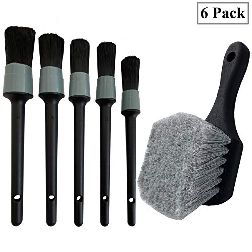 LUCKLYJONE Wheel & Tire Brush, Soft Bristle Car Wash Brush, 5 Different Sizes Detailing Brush, Cleans Dirty Tires & Releases Dirt and Road Grime, Short Handle for Easy Scrubbing (Gray)