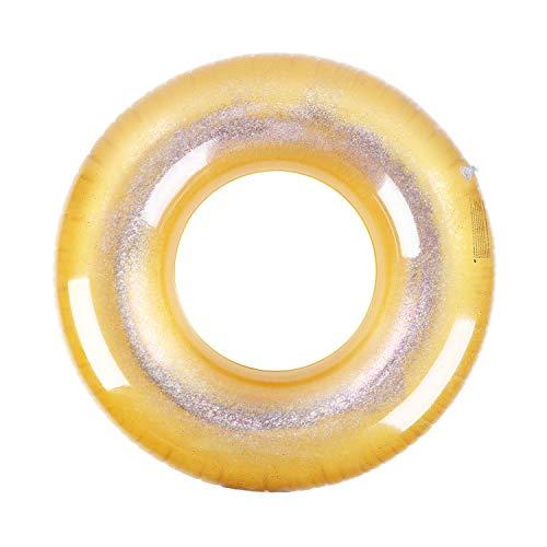 MoKo Anillos de Natación con Purpurina de 120CM de Diámetro para Niños Adultos, Piscina de Flotador Inflable de Forma Redonda para Fiesta de Verano Diversión Acuática Playa - Dorado