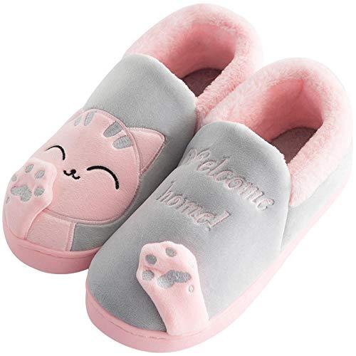 YUTJK Unisex Winter Warm Memory Foam Hausschuhe für Indoor & Outdoor,Süße Männer und Frauen Baumwolle Schuhe-Gray_6/6.5UK