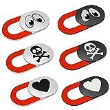 KARBOME Tapa Webcam Ultrafina con indicador Rojo (6 Unidades) | Tapar Camara portatil PC, Mac y Tablet | Ojos, Cráneo, Corazón | Set-A