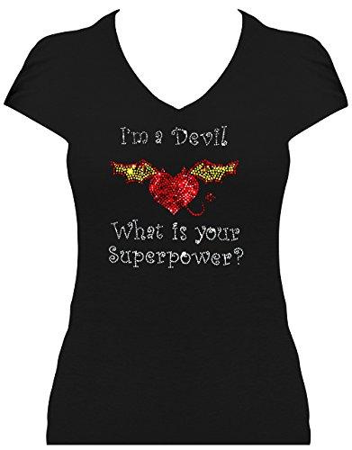 Elegant damesshirt carnaval duivel kostuum I 'm a Devil What is Your Superpower? Carnaval.