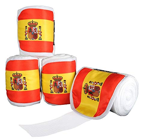 HKM polarfleece bandages vlags, set van 4, 200 cm, Vlag Spanje - 7903