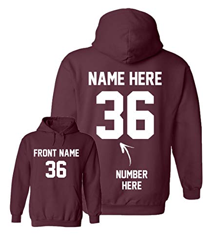 Custom Hoodies - Design Your Own Sweatshirts - Personalized Hoodys for Football Maroon