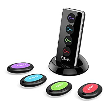 Key Finder Esky 80dB Wireless RF Item Locator with 131ft Working Range in Open Space and Led Flashlight Function 4 Receivers Remote Finder for Finding Key Wallet Remote Phone and Pet
